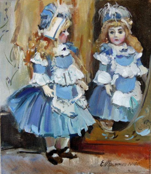 Картина маслом с куклой. На картине с куклой изображена маленькая Алиса. Будуарная кукла или будуарная картина?