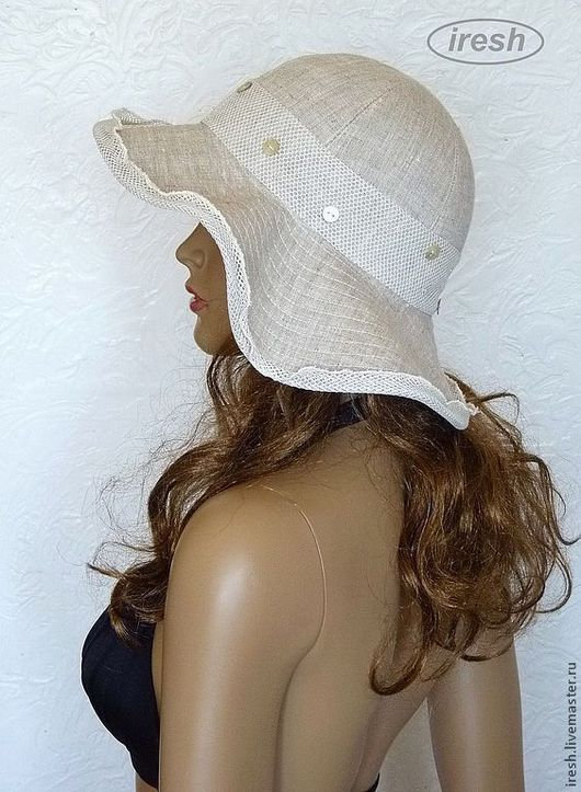 """Шляпы ручной работы. Ярмарка Мастеров - ручная работа. Купить Шляпка """"Летняя история"""" льняная. Handmade. Бежевый, экомода, из ракушек"""