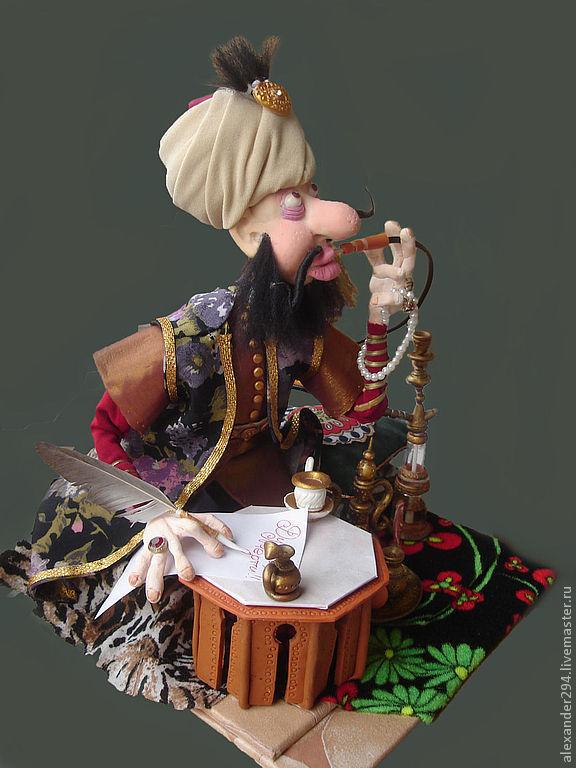 Коллекционные куклы ручной работы. Ярмарка Мастеров - ручная работа. Купить Султан(Ответ запорожцам). Handmade. Кальян, чалма, металл