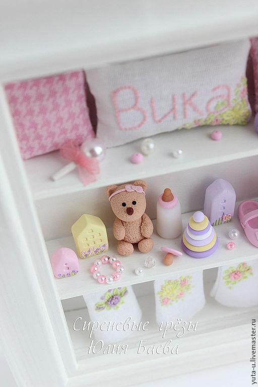 """Подарки для новорожденных, ручной работы. Ярмарка Мастеров - ручная работа. Купить Подарок для девочки. Миниатюра Рамочка """"Вика"""". Handmade."""