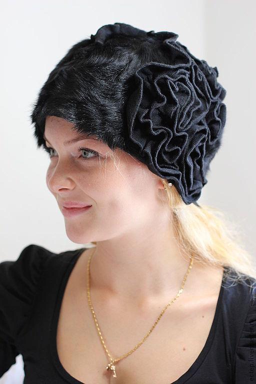 Шляпы ручной работы. Ярмарка Мастеров - ручная работа. Купить (Арт.7693) Трикотажная шляпка с мехом козлика. Handmade.