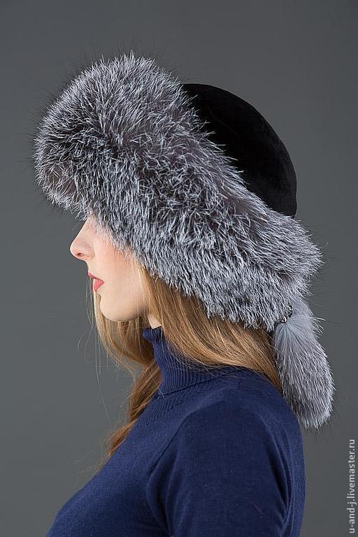 Шапки ручной работы. Ярмарка Мастеров - ручная работа. Купить Меховая шапка Боярка из лисы(blue frost) и стриженной норкой. Handmade.