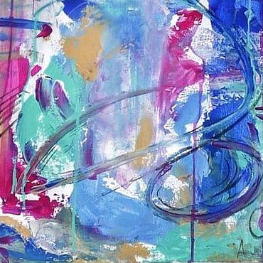 Дизайн и реклама ручной работы. Ярмарка Мастеров - ручная работа Картина акрилом Сознание Абстракция на холсте в интеръер на заказ. Handmade.