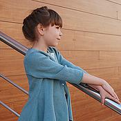 Работы для детей, ручной работы. Ярмарка Мастеров - ручная работа АКВАРЕЛИ Aqua Кардиган вязаный для девочки. Handmade.