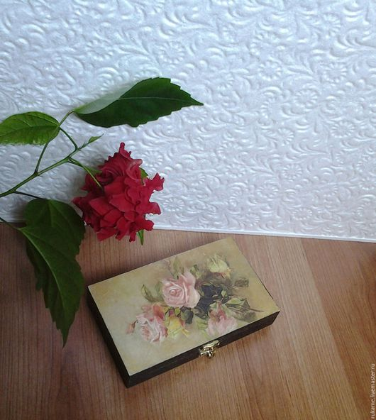 """Шкатулки ручной работы. Ярмарка Мастеров - ручная работа. Купить Купюрница """"Поздние розы"""". Handmade. Комбинированный, купюрница для денег, розы"""