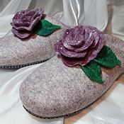 Обувь ручной работы. Ярмарка Мастеров - ручная работа Desert Rose. Валяные тапочки.. Handmade.