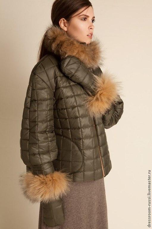 Верхняя одежда ручной работы. Ярмарка Мастеров - ручная работа. Купить Куртка с мехом лесы!!!. Handmade. Хаки, куртка женская