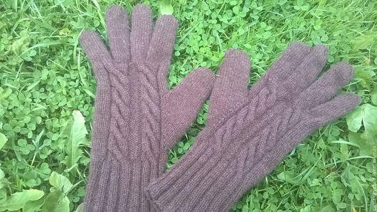 Варежки, митенки, перчатки ручной работы. Ярмарка Мастеров - ручная работа. Купить коричневые перчатки. Handmade. Коричневый, араны