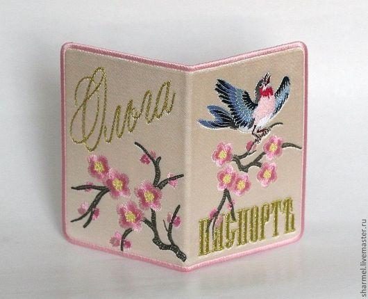 Вышитая обложка для паспорта `Птичка на сакуре`. Полезные вещицы от Шармель-ки.