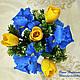 Композиция с синими ирисами и желтыми тюльпанами, Композиции, Ростов-на-Дону,  Фото №1