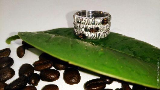 """Кольца ручной работы. Ярмарка Мастеров - ручная работа. Купить Широкое серебряное кольцо """"Кофеин""""))). Handmade. Серебро, кольцо с камнями"""