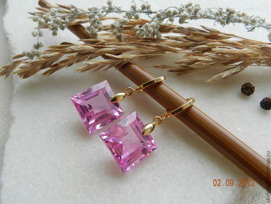 """Серьги ручной работы. Ярмарка Мастеров - ручная работа. Купить """"Pink dreams"""" позолоченные серьги (позолота, кварц). Handmade. Золотой"""