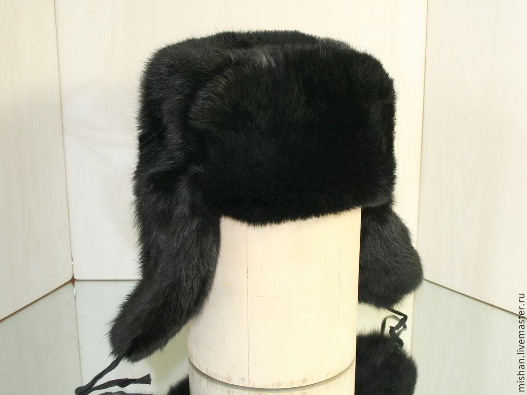 Hats handmade. Livemaster - handmade. Buy Ushanka mens fur rabbit. Color  black. 1c89a1ea7b8