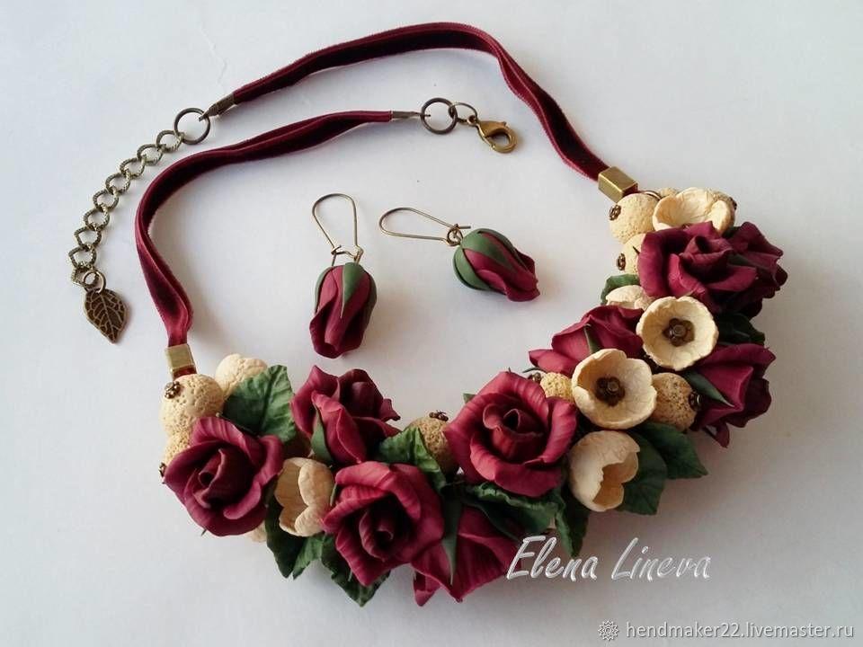 """Колье, бусы ручной работы. Ярмарка Мастеров - ручная работа. Купить Колье """"Марсала"""". Handmade. Бордовый, бордо, розы марсала"""