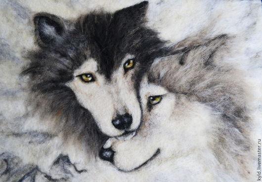 """Животные ручной работы. Ярмарка Мастеров - ручная работа. Купить Картина из шерсти """"Верность"""" - 2. Handmade. Волк, пара"""
