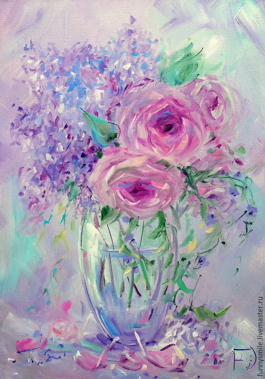 Oil painting on canvas with stretcher 35/50. Lilac-pink dreams, Pictures, Moscow,  Фото №1