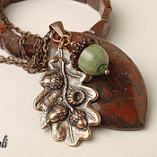 Pendants handmade. Livemaster - original item Necklace and bracelet made of Jasper Autumn. Handmade.