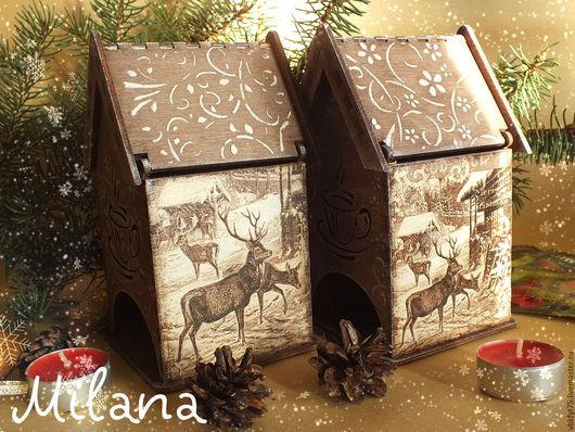 коричневый домик для чая, чайный домик декупаж, олени, чайный домик из дерева, чайный домик объемный декупаж, чайный домик в подарок, для чайной церемонии, чайный домик для кухни, чай