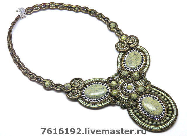 Jewelry Sets handmade. Livemaster - handmade. Buy necklace 'Serpenta' ('Abstraction' with a coil).Khaki, coil, czech beads