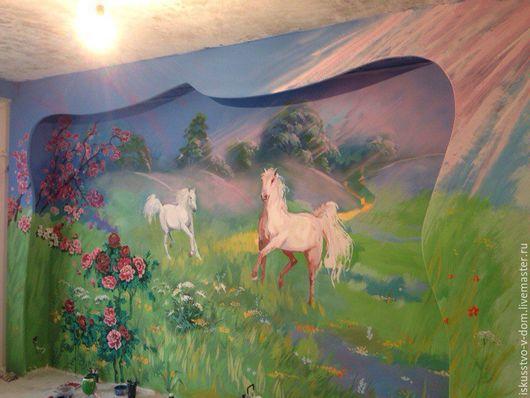 Пейзаж ручной работы. Ярмарка Мастеров - ручная работа. Купить Роспись стен на любую тематику. Handmade. Роспись стен, картина
