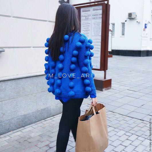 Кофты и свитера ручной работы. Ярмарка Мастеров - ручная работа. Купить Кардиган с объемными шариками синий. Handmade. Синий, кардиган