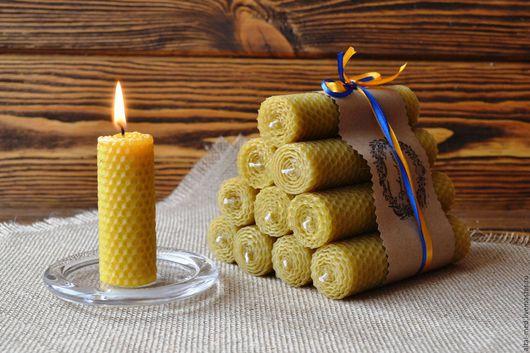 Свечи ручной работы. Ярмарка Мастеров - ручная работа. Купить Домашний огонь - набор свечей из вощины. Восковые свечи. Handmade.