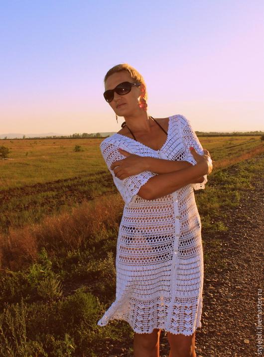 Пляжные платья ручной работы. Ярмарка Мастеров - ручная работа. Купить Жара- пляжный халатик, вязаный крючком, летняя мода. Handmade.