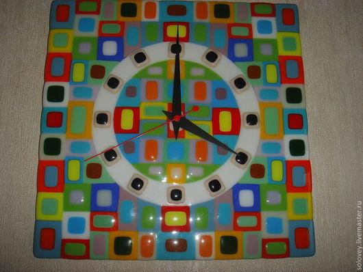 """Часы для дома ручной работы. Ярмарка Мастеров - ручная работа. Купить Часы """" Садовое кольцо"""". Handmade. Фьюзинг, стекло"""