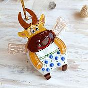 handmade. Livemaster - original item Year of the Bull: Christmas toy Bull, pendant symbol 2021, glass decor. Handmade.