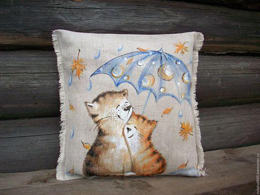 Текстиль, ковры ручной работы. Ярмарка Мастеров - ручная работа. Купить И пусть  весь мир подождет......Льняная подушечка с росписью..... Handmade.