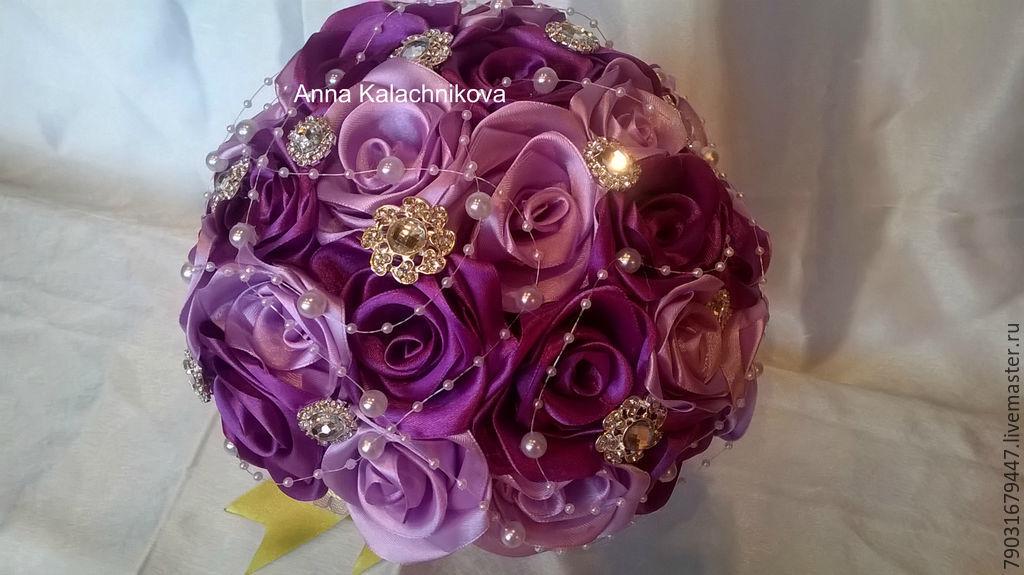 Свадебные цветы ручной работы. Ярмарка Мастеров - ручная работа. Купить Букет невесты из атласных лент. Handmade. Букет невесты