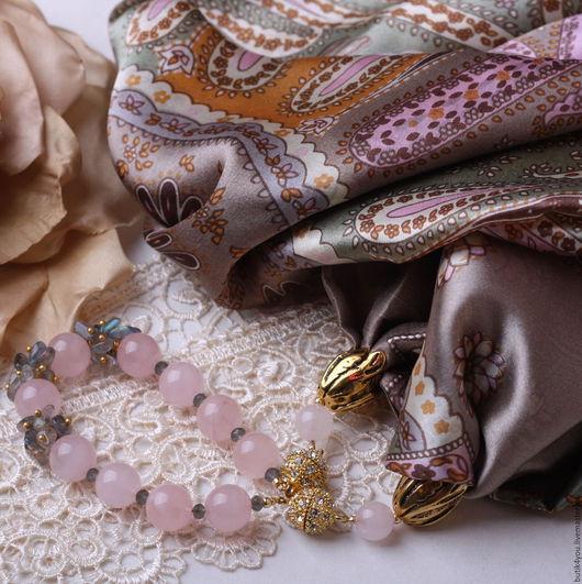 """Колье, бусы ручной работы. Ярмарка Мастеров - ручная работа. Купить Колье """"Etro"""" из шелка, розового кварца и лабродорита. Handmade."""
