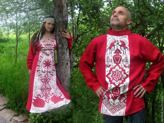 """Для мужчин, ручной работы. Ярмарка Мастеров - ручная работа. Купить Рубаха """"Валькирия"""". Handmade. Ярко-красный, рубахаа из льна"""