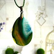 Украшения handmade. Livemaster - original item Green-blue onyx pendant with druze drop. Handmade.