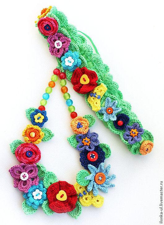 """Детская бижутерия ручной работы. Ярмарка Мастеров - ручная работа. Купить Комплект """"Цветочная радуга"""": ожерелье и повязка для волос. Handmade."""