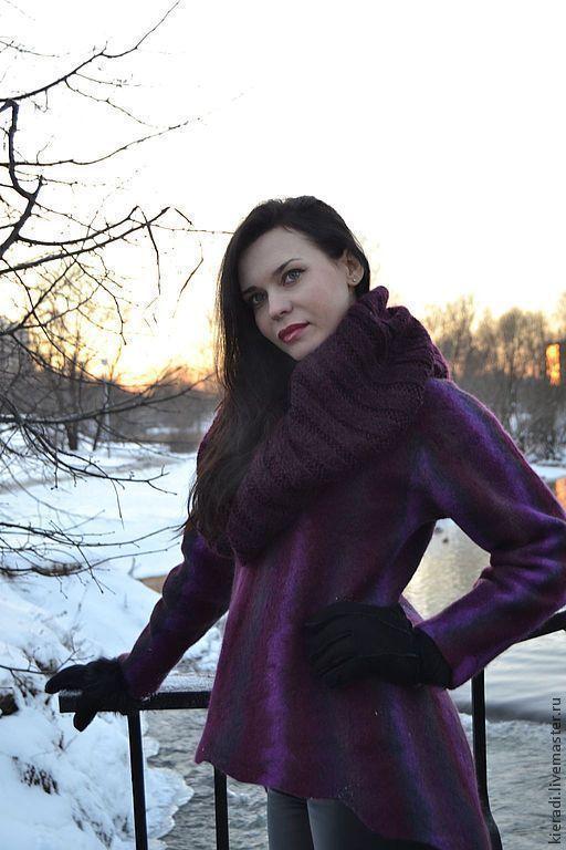Верхняя одежда ручной работы. Ярмарка Мастеров - ручная работа. Купить Свитер-пальто. Handmade. Свитер-пальто, бордовый