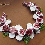 Материалы для творчества ручной работы. Ярмарка Мастеров - ручная работа Орхидеи цветочный набор бусин лэмпворк lampwork, для колье. Handmade.