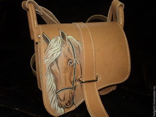 Женские сумки ручной работы. Ярмарка Мастеров - ручная работа. Купить сумка кожаная  с лошадью. Handmade. Рисунок, символ года