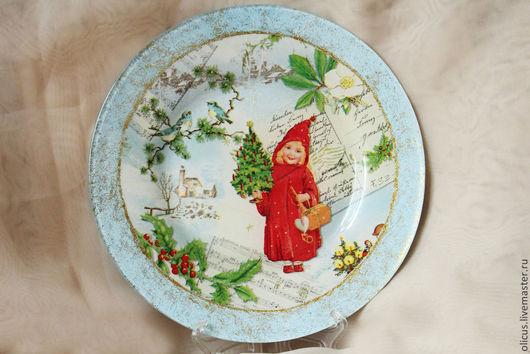 Новый год 2017 ручной работы. Ярмарка Мастеров - ручная работа. Купить Декоративная новогодняя тарелка Ангелочек в красном. Handmade.
