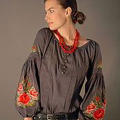 """Одежда handmade. Livemaster - original item Серая вышитая блуза """"Очарование роз"""" ручная вышивка гладью. Handmade."""