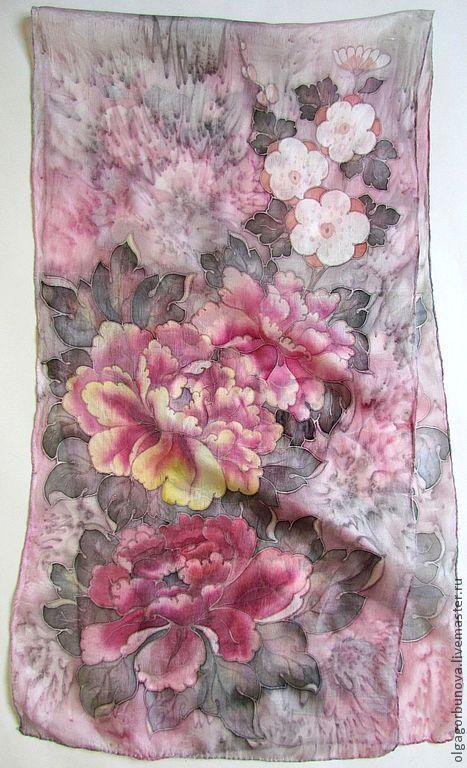 Batik scarf 'Soft pion', Scarves, Yaroslavl,  Фото №1
