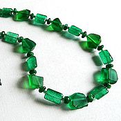 Украшения handmade. Livemaster - original item emerald. Necklace of Aqua quartz, tsavorite, emerald. Handmade.