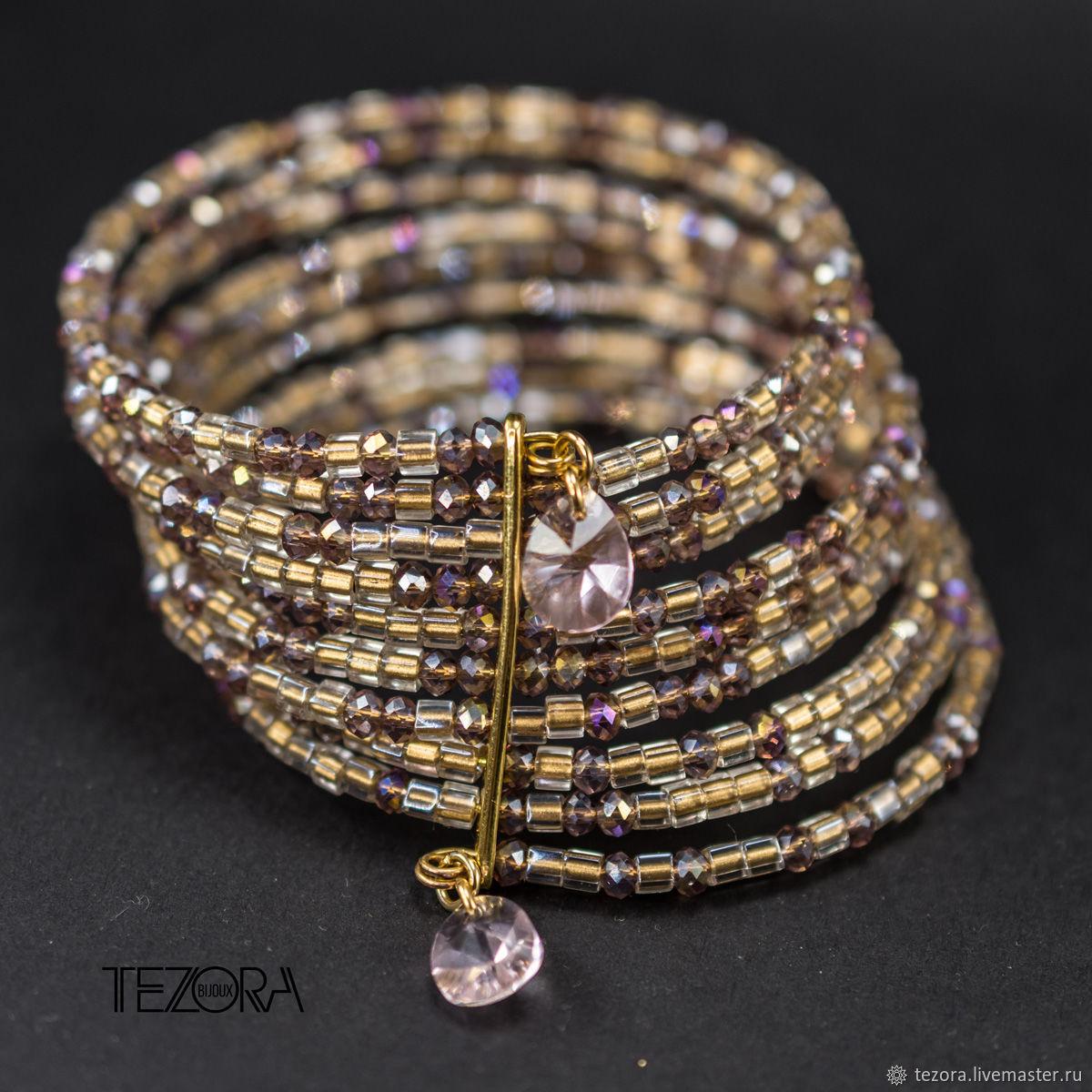Браслет CUBES GOLDEN PINK из японского бисера с кристаллами Сваровски, Браслет из бусин, Москва,  Фото №1