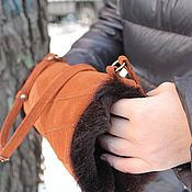 Аксессуары handmade. Livemaster - original item Clutch Hand bag made of suede with sheepskin fur Red Brown. Handmade.
