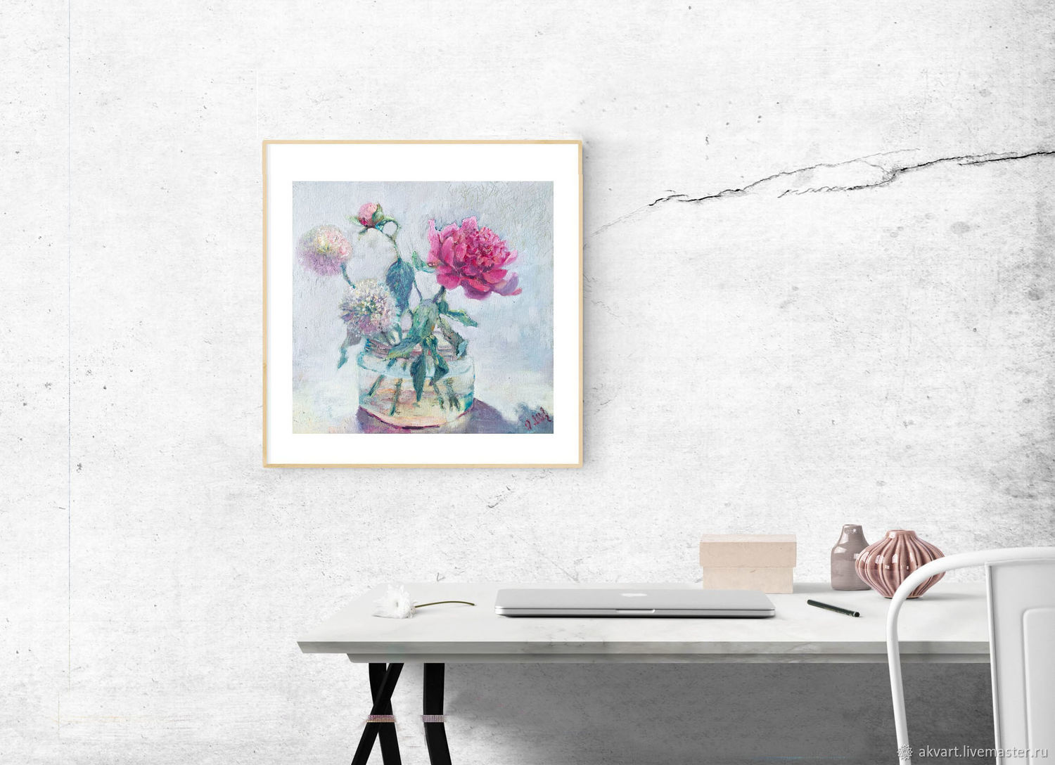 Oil painting. Painting with flowers. ' Peony and bow karatavsky', Pictures, Moscow,  Фото №1