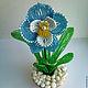 Цветы ручной работы. Ярмарка Мастеров - ручная работа. Купить Голубая орхидея из бисера. Handmade. Голубой, подарок на любой случай