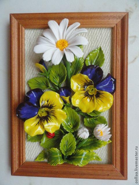 """Картины цветов ручной работы. Ярмарка Мастеров - ручная работа. Купить """"Глазастые ромашки"""" - панно, полимерная глина, картина. Handmade."""