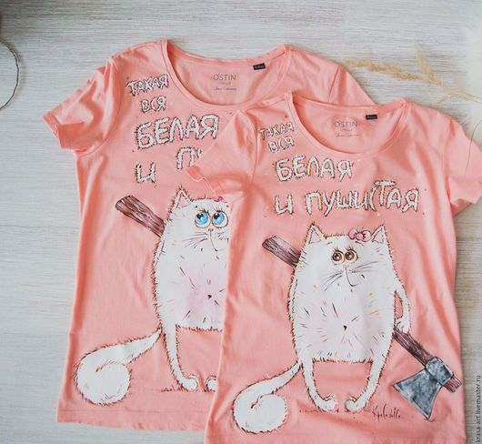 T-Shirts & Singlets handmade. Livemaster - handmade. Buy All WHITE and FLUFFY....Cat, axe, t-shirt