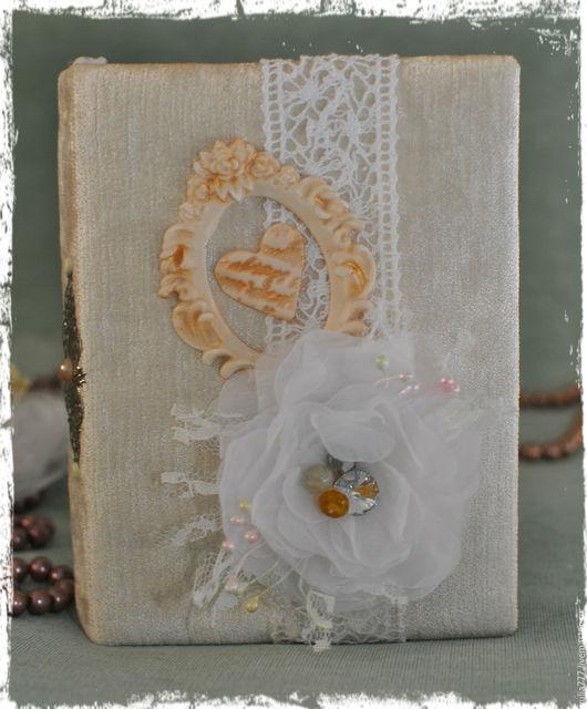 """Блокноты ручной работы. Ярмарка Мастеров - ручная работа. Купить блокнот ручной работы """"Нежность"""". Handmade. Белый, сердце, кружево"""