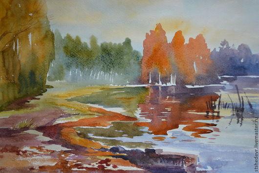"""Пейзаж ручной работы. Ярмарка Мастеров - ручная работа. Купить Картина """"Осенние отражения"""". Handmade. Рыжий, золотистый, пейзаж с водой"""